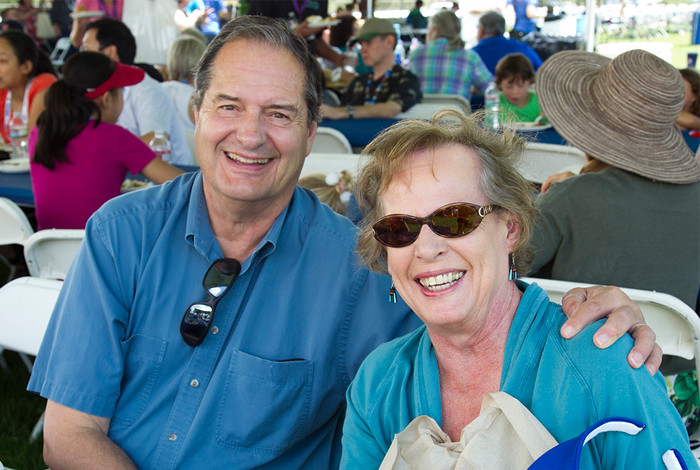 Former Lab manager Don Cobb and his wife enjoy the Lab's 70th anniversary event