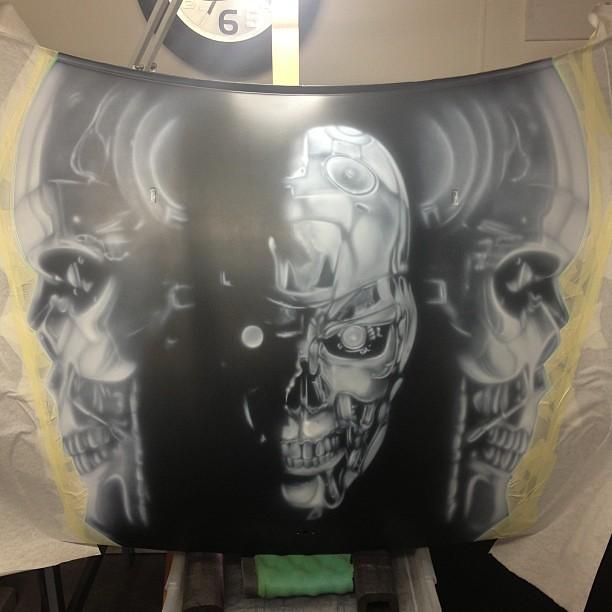 Terminator bonnet hood white under painting complete for Airbrush car mural
