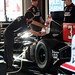 The car of Helio Castroneves being prepared at Sonoma Raceway