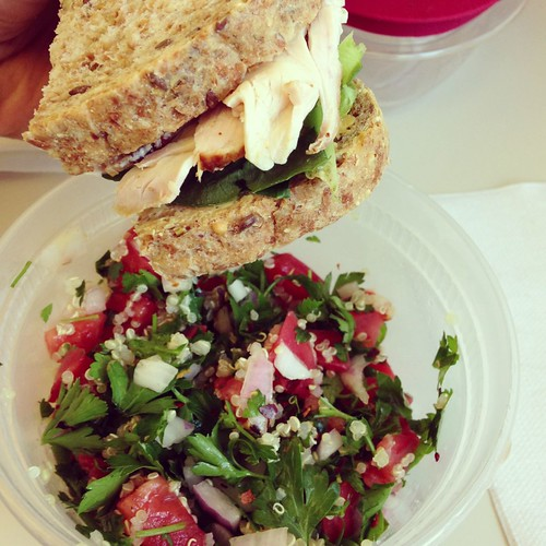 Turkey sandwich and quinoa tabbouleh
