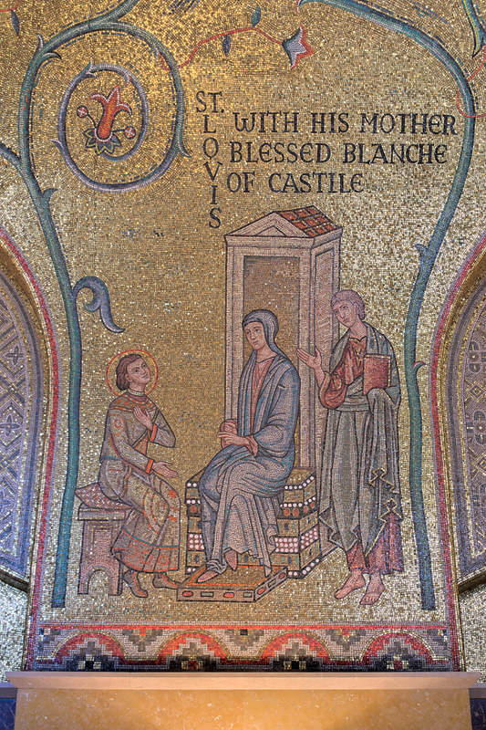 Cathedral Basilica of Saint Louis, in Saint Louis, Missouri, USA - mosaic 6 in Narthex - St. Louis with his Mother Blessed Blanche of Castile