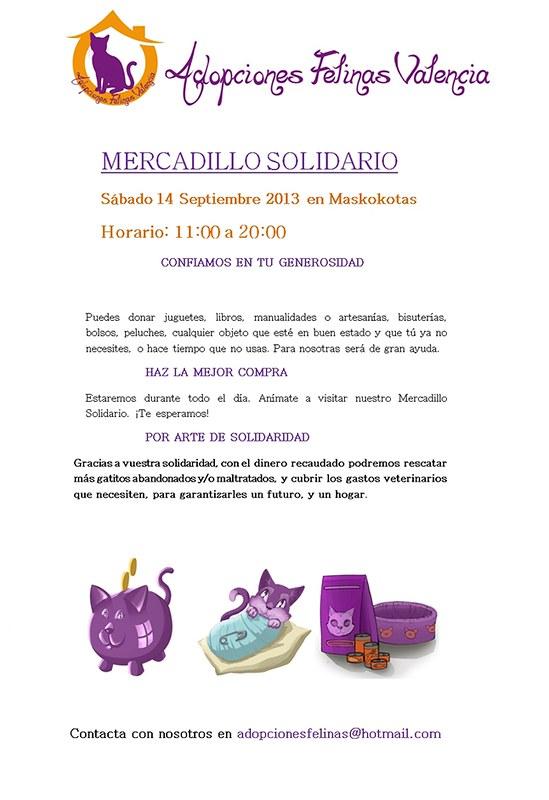 III MERCADILLO SOLIDARIO ADOPCIONES FELINAS VALENCIA: Sábado 14 Septiembre 2013 9679485565_76cbbbff07_c