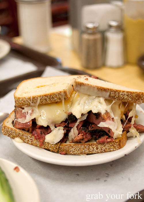 katz's reuben corned beef sauerkraut pickle at katz's deli nyc new york usa jewish food lower east side les