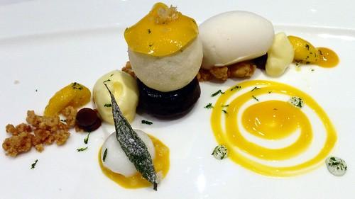Yuzu Mango Cremeux, Gula Melaka Streusel, Milky Lemongrass Sorbet & Chocolate.