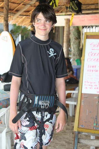 getting ready to kite surf