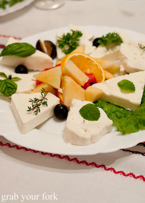 buffalo sheep cow cheese platter Manastirska Magernista Monastery Restaurant, Sofia, Bulgaria