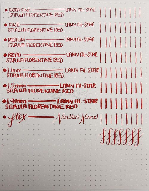 Stipula Calamo Florentine Red Writing Sample
