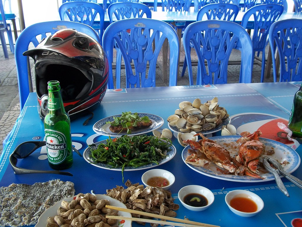 Seafood feast at Cua Lo, Vietnam