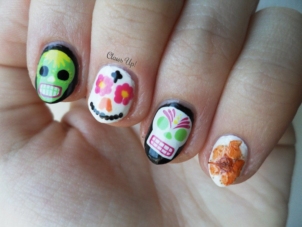Claws Up!: My 24th Birthday Nails - Dia De Los Muertos