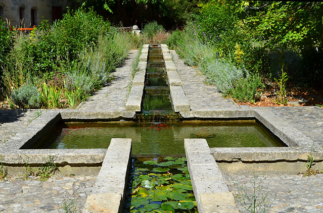 Pool and gardens,Tarascon Castle, Provence, France