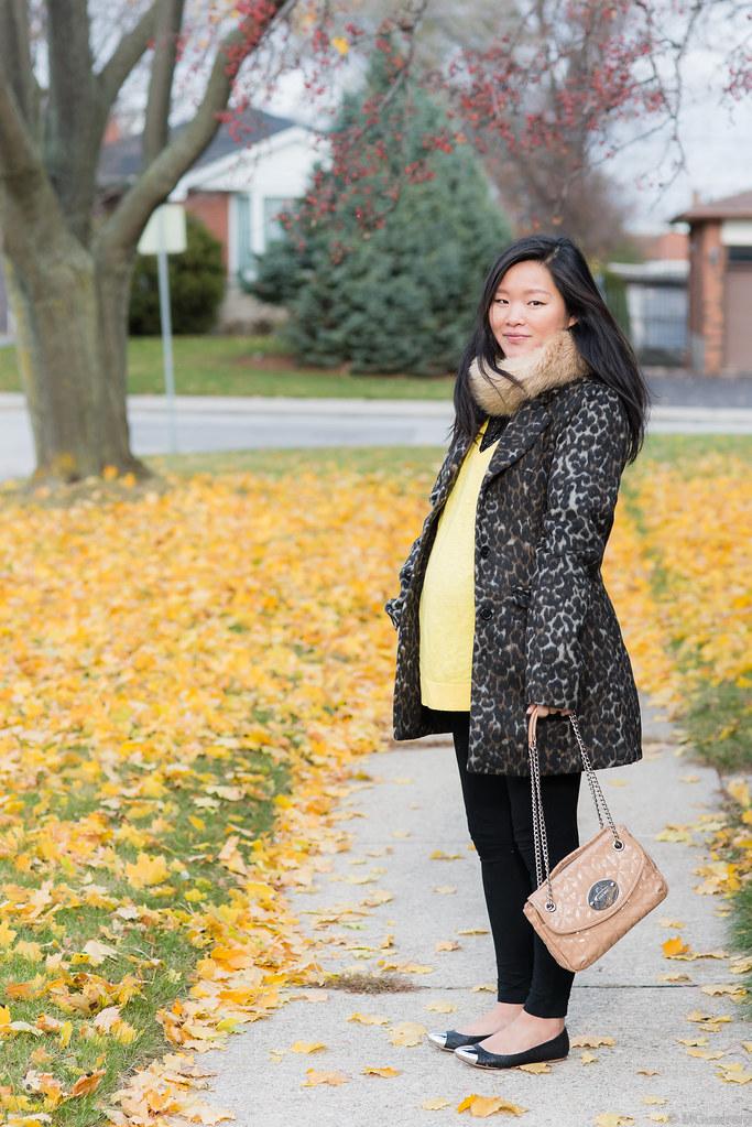 suzy shier leopard print coat, joe fresh faux fur stole, gap oversized sweater, zigi girl cap toe flats