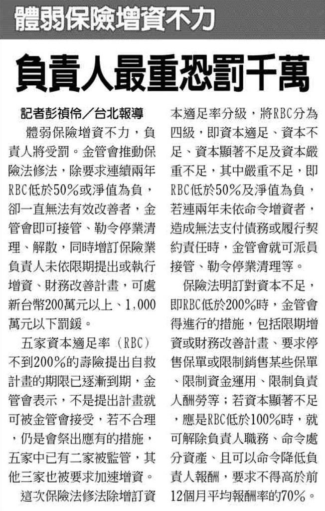 20131209[工商時報]體弱保險增資不力 負責人最重恐罰千萬