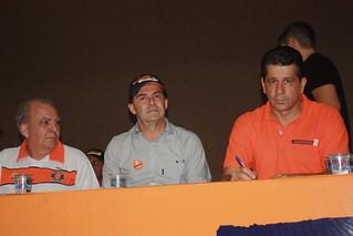 A centro o presidente nacional do Solidariedade, deputado Paulinho da Força, ladeado por Miguel Torres (esq.) e David Martins
