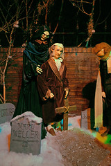 Ghost of Christmas Future with Ebenezer Scrooge in the Graveyard