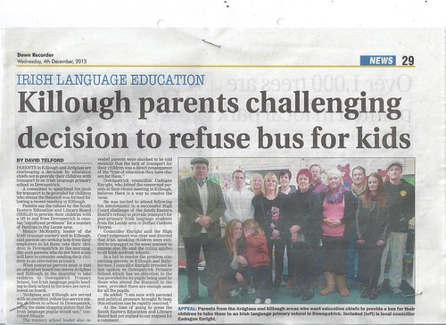 dec 4 2013 Ardglass and Killough parents resist discrimonation