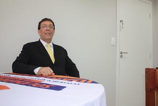 Karium Brizolla, pré-candidato a deputado federal, em reunião na sede do Solidariedade Estadual-SP