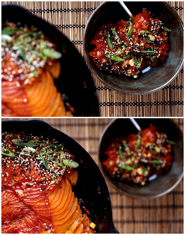 Baked Sweet Potato with Gochujang and Peanut Butter Sauce