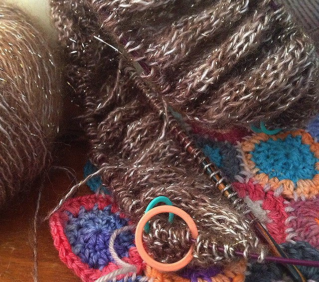 a new knit project and some shabby chic crochet circles