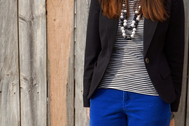 black and white stripes with blue cords