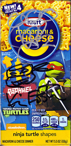 "Kraft Macaroni & Cheese :: ""TEENAGE MUTANT NINJA TURTLES"" Shapes ; ""RAPHAEL"" box iv // ..signed by Kevin Eastman & Vanilla Ice  (( 2014 ))"