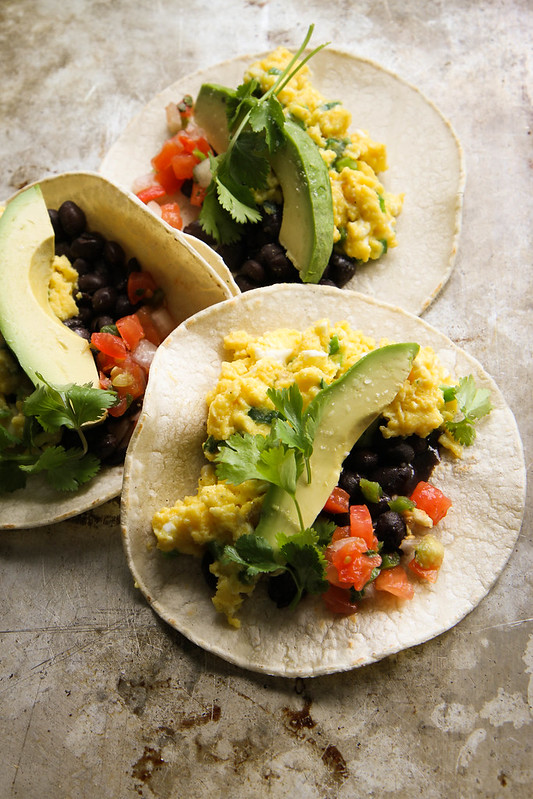 Breakfast Tacos with Spicy Green Onion and Cheddar Scrambled Eggs ...
