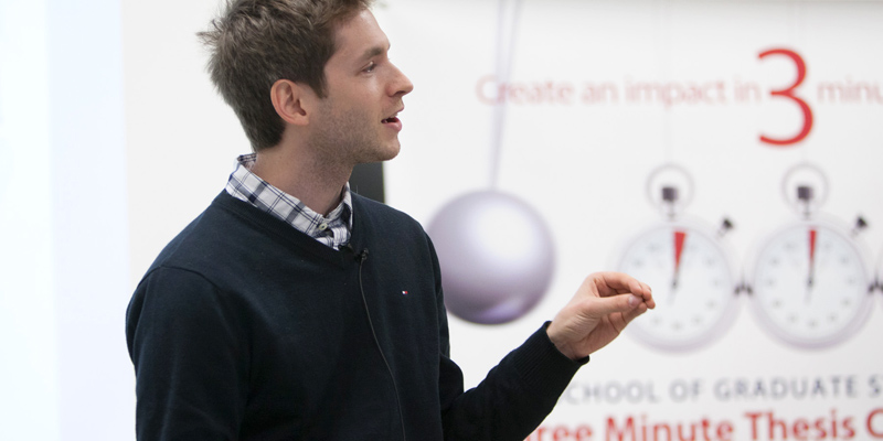 Joshua Alpern (Biology) was one of 10 finalists in the Queen's 3 Minute Thesis competition  held on April 9.