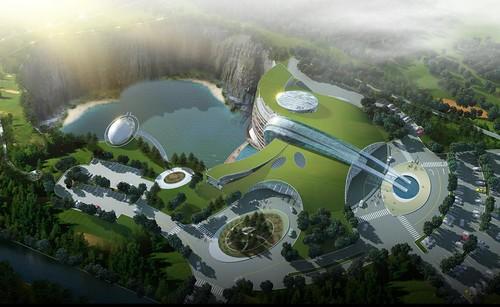 英國 Atkins 建築師事務所打造世界第一座建於廢礦坑之五星級度假中心