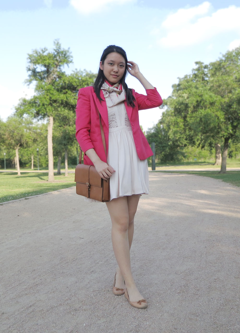 Wearing different shades of pink together: hot pink on top and light pink underneath