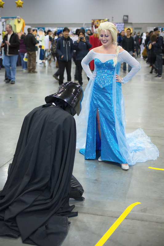 Lord Vader bows down before Queen Elsa