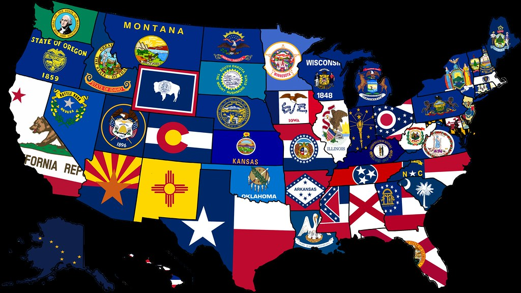 Use States Map.Usa State Flag Map Map Of The Usa With Their States Flags