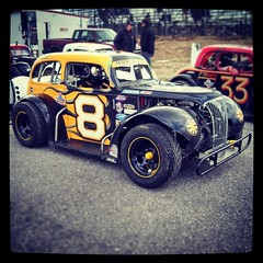 Ready for the heat race! #HooliganMotorsports #8 #uslegends #racing #maine