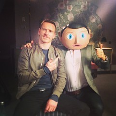 Here's me, my big head, and #MichaelFassbender today #Frank @FrankTheFilm #XMen