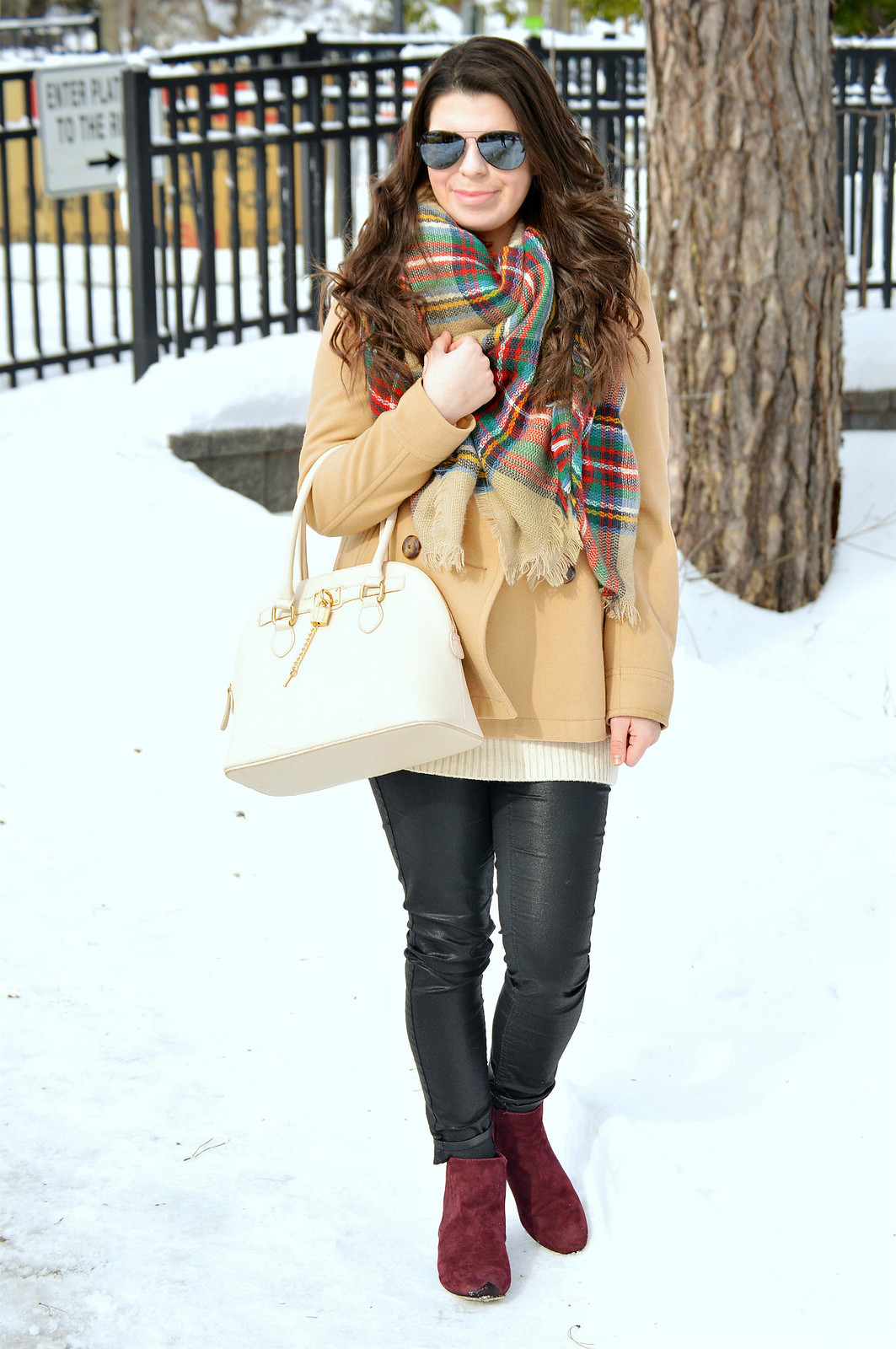 pea coat and scarf