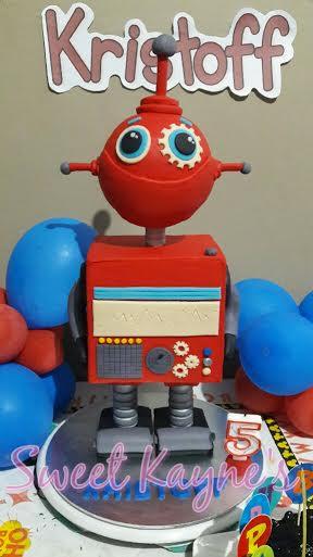 Robot Fondant Cake by Florence Kayne Tan of Sweet Kayne's