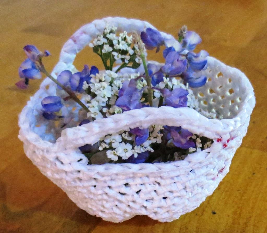 Mini Plarn Flower Basket My Recycled Bags