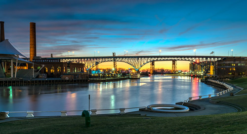 city longexposure bridge sunset ohio sky urban reflection clouds reflections river geotagged evening nikon downtown unitedstates cleveland hdr cuyahogariver nikond5300