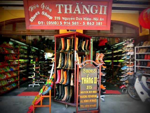 Handmade leather shoes in Hoi An, Vietnam