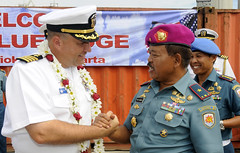 USS Blue Ridge (LCC 19) Commanding Officer Capt. Will Pennington is greeted by Indonesia Marine Brig. Gen. Ikin Sodikin following Blue Ridge's arrival in Jakarta, June 14. (U.S. Navy photo by Mass Communication Specialist 3rd Class James Norman)