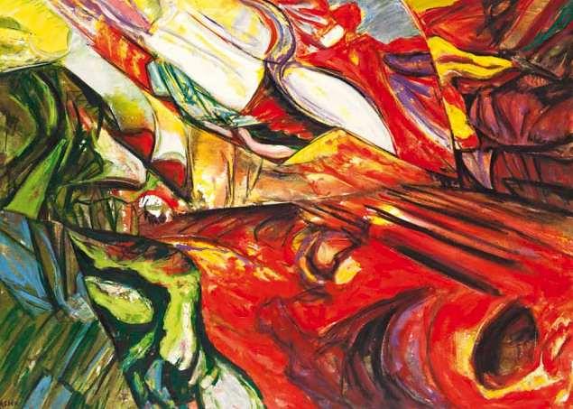 Deslizamiento en rojos. 2006. Óleo sobre tela. 90 x 150 cm