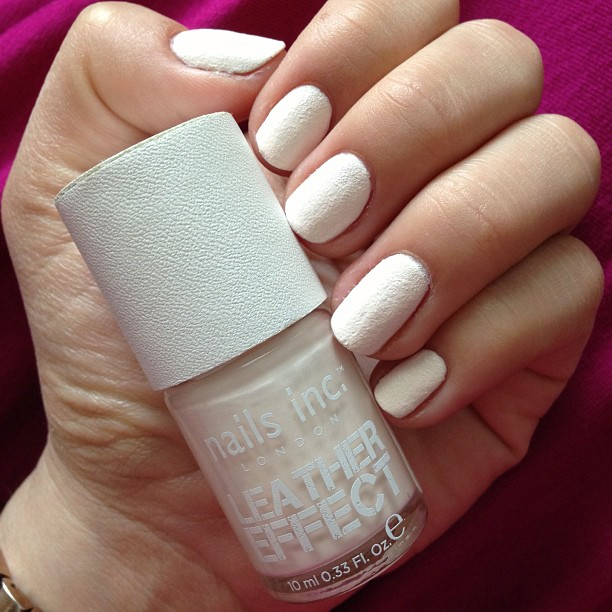 "Trying out a little ""leather effect"" today! #nailsinc #notd #nailpolish #manicure #nailsofig #instamani #showusyourtips #beauty #nailpolishobsessed #white #leather"