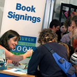 Julia Donaldson signing books for young fans |