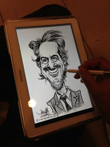 Robert Downey digital caricature pen sketch on Samsung Galaxy Note 10.1