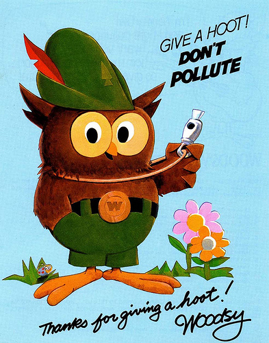 "Woodsy Owl before his makeover and during the time he would say, ""Give a hoot! Don't pollute!"""