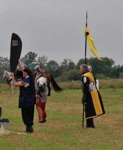 The Viking's assistant holds up a shield for the audience's inspection, as Alan looks on.