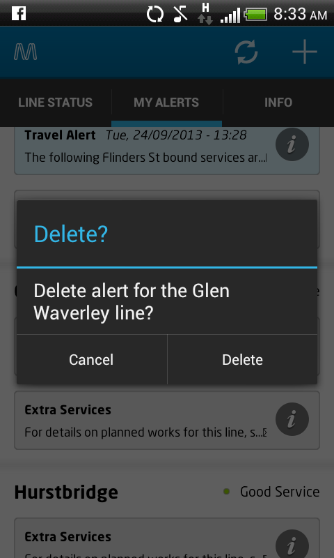 MetroTrains Android app: Delete an alert
