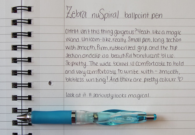 Zebra nuSpiral Ballpoint Writing Sample