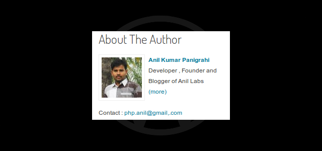 PHP code for Author Widget in WordPress by Anil Kumar Panigrahi - Author Widget