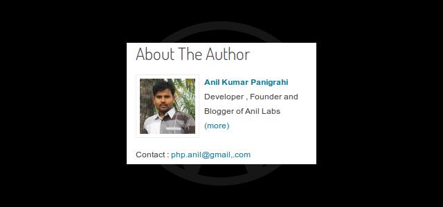 PHP code for Author Widget in WordPress by Anil Kumar Panigrahi - Author Widget