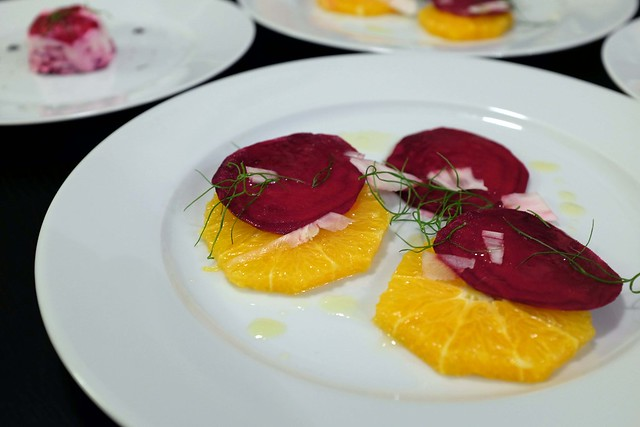 orange, beet, and fennel salad with drizzle of honey-olive-oil-riesling dressing