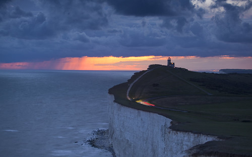 park sunset sea england cliff lighthouse clouds downs sussex chalk south cliffs east national belle whit tout twiight